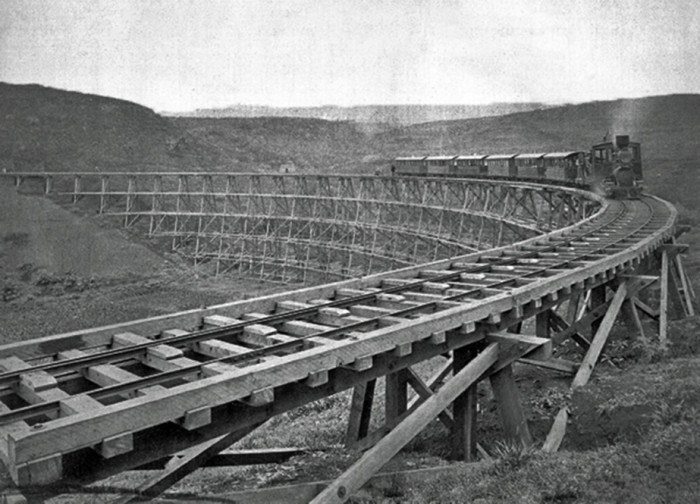 2) The Hawaiian railroad during construction in 1881.
