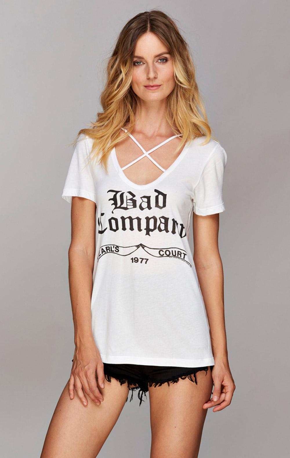Vintage Bad Company Trunk Ltd Official Store Bad Company Short Sleeve Criss Cross V Neck Tee
