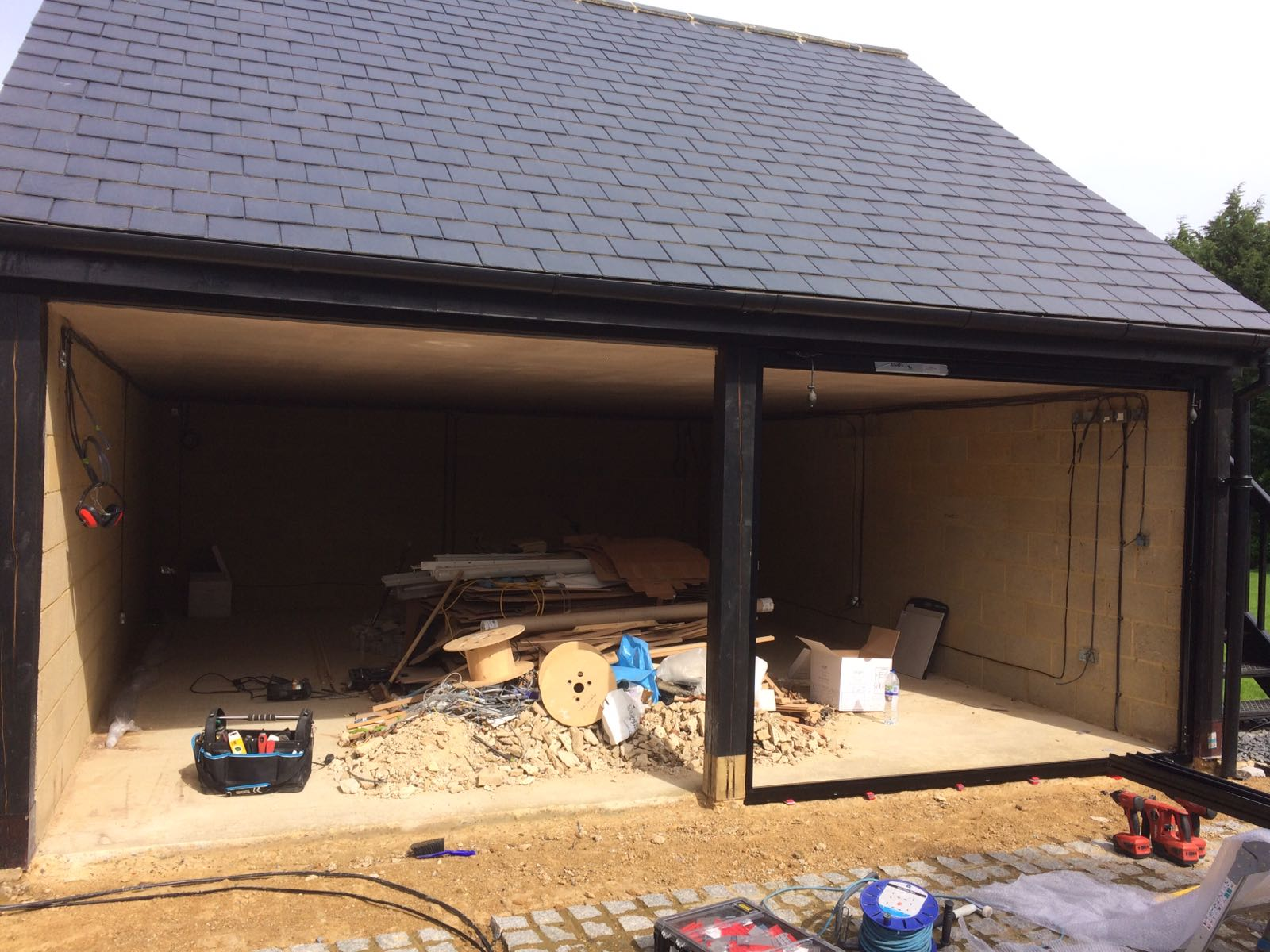 Garage Conversion Hertfordshire Hitchin Black Origin Bifolds With Integral Blinds Open Living