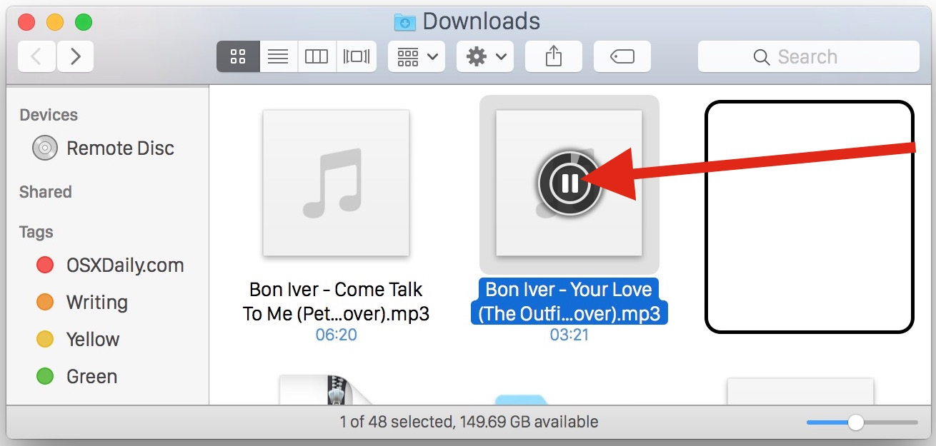 Mp3 Audio Play Mp3 And Audio Files In Finder Of Mac Os X With This Icon Trick