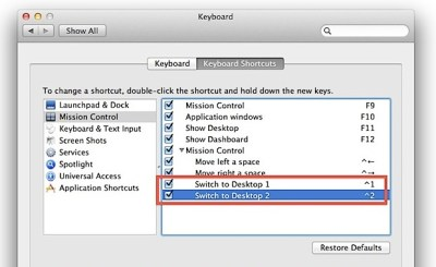 Switch Between Desktop Spaces Faster in Mac OS X with Control Keys