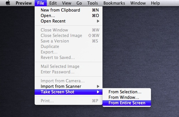 You Can Capture  Save Screen Shots with Preview in Mac OS X