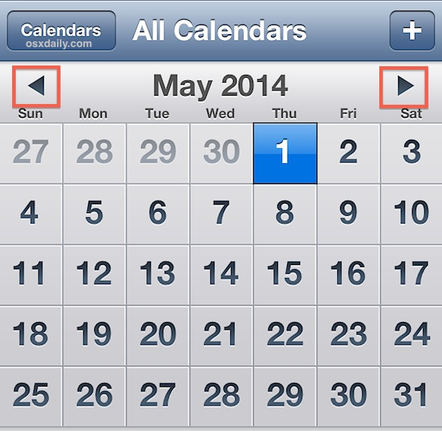 Fast Navigate the Calendar in iOS with a Tap  Hold