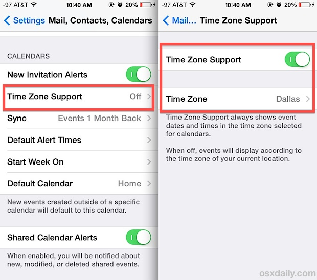 Add Time Zone Support to Calendar for iOS