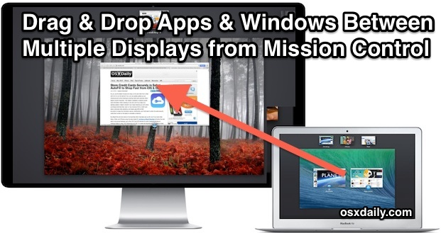 Move Windows, Apps,  Desktops Between Multiple Displays in Mac OS X - multi screen display