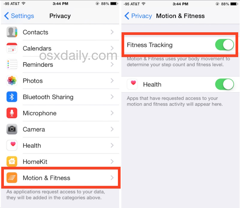 How to Enable (or Disable) Motion  Fitness Tracking with iPhone - vacation tracker app