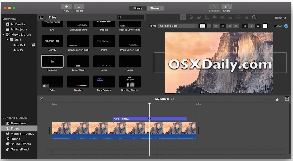 Garageband Fade In How To Add Text To Video With Imovie In Mac Os X