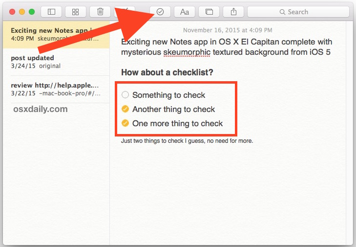 How to Add Checklists to Notes in iOS  Mac OS X
