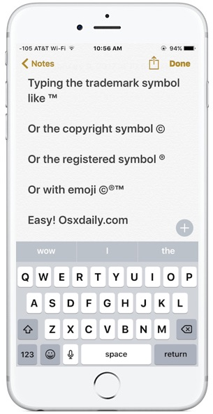 How to Type Trademark, Copyright, Symbols on iPhone and iPad