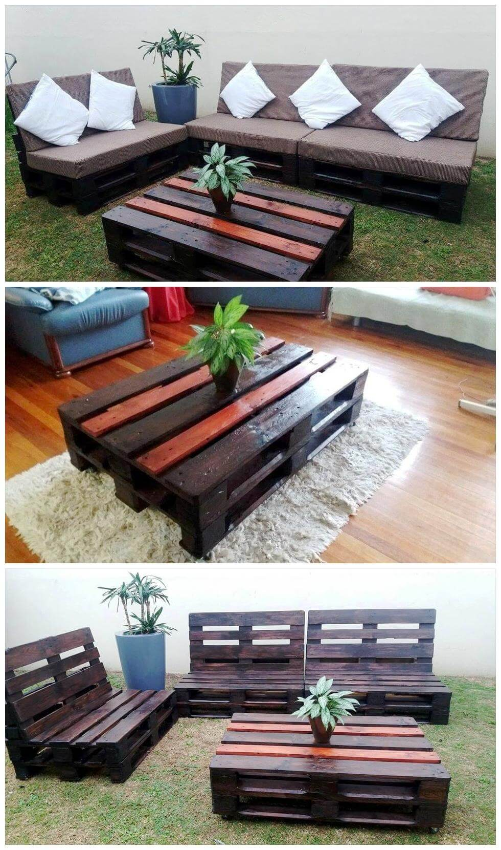 Diy Table With Pallets Diy Pallet Sofas And Coffee Table Set Pallets Pro