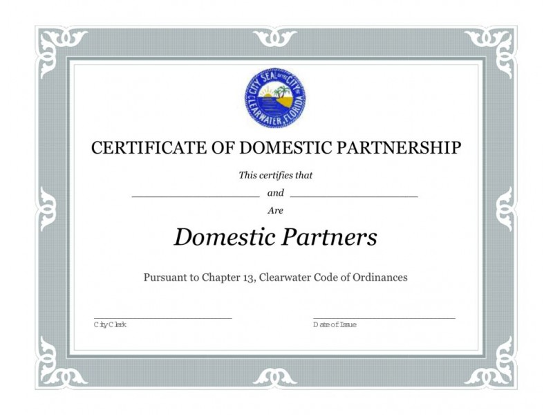 Certificate Of Domestic Partnership - Best Design Sertificate 2018