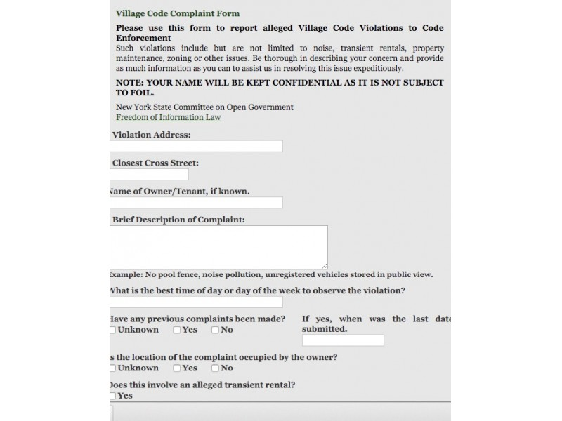 Online, Anonymous Code Complaint Form Launches in Greenport North - complaint form