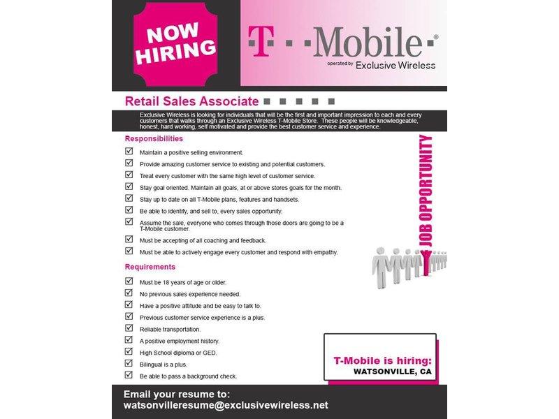 T-Mobile Is Hiring In Watsonville Watsonville, CA Patch - tmobile costumer service