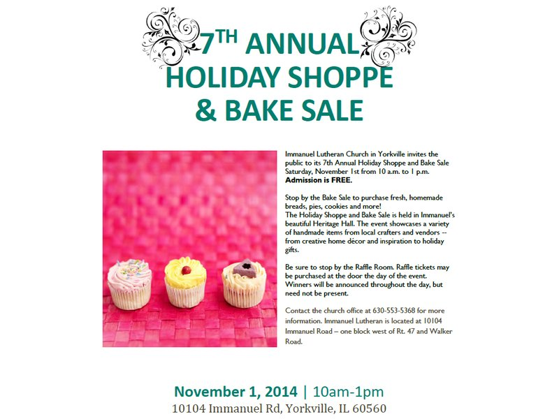 Immanuel\u0027s 7th Annual Holiday Shoppe  Bake Sale Montgomery, IL Patch