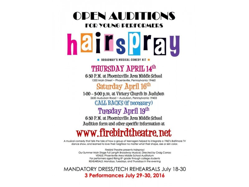 Firebird Theatre Announces Open Youth Auditions for Hairspray the