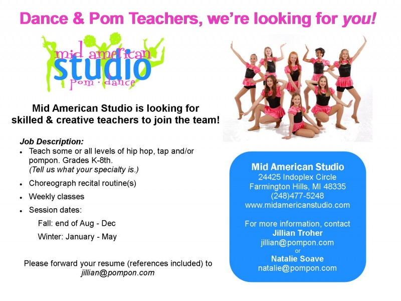 Dance and/or Pompon Teacher Wanted Farmington, MI Patch - dance instructor job description