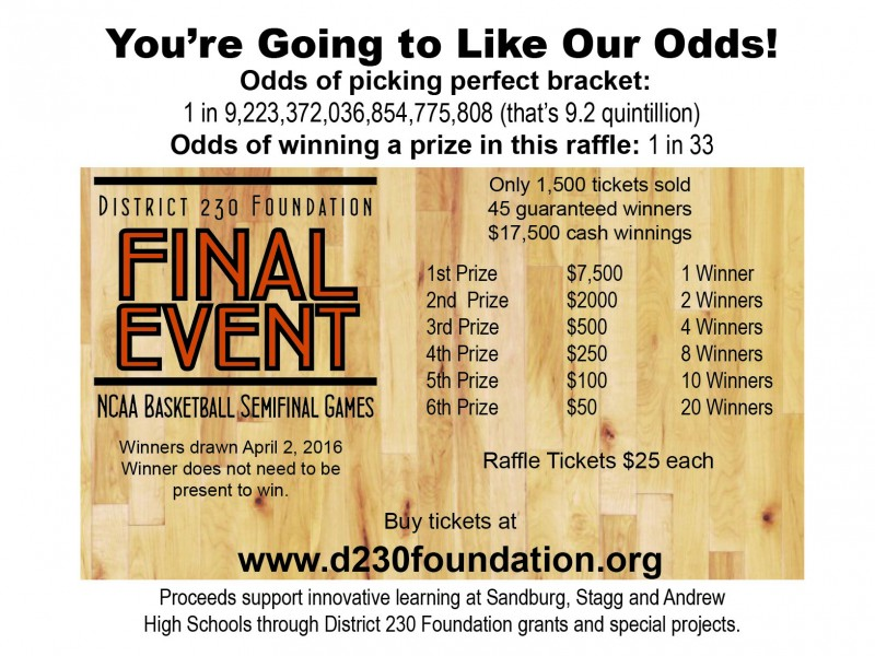 District 230 Foundation gets into March\u0027s madness with Final Event - raffle ticket prizes
