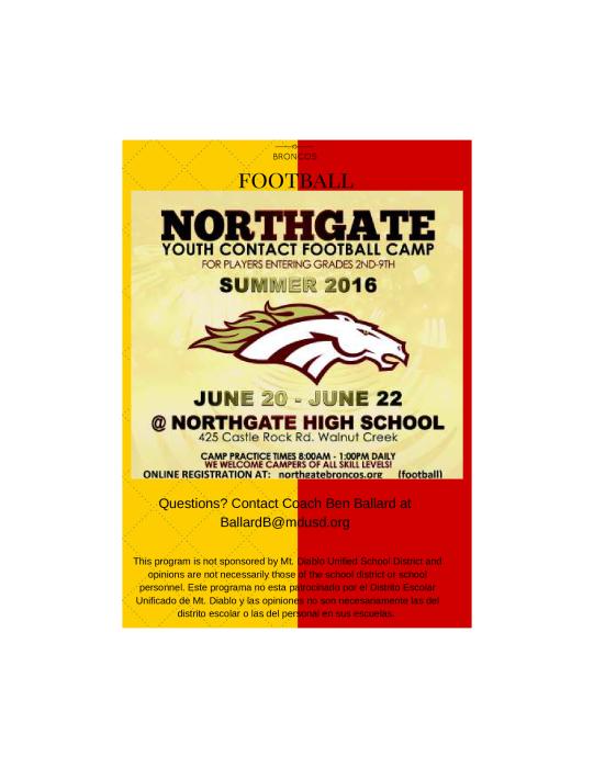 Northgate Youth Football Camp 2016  School - school -