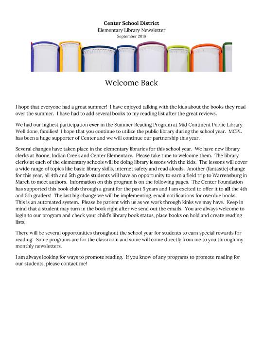 Elementary Library Newsletter  School - school -