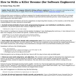 how to write a killer resume for software engineers