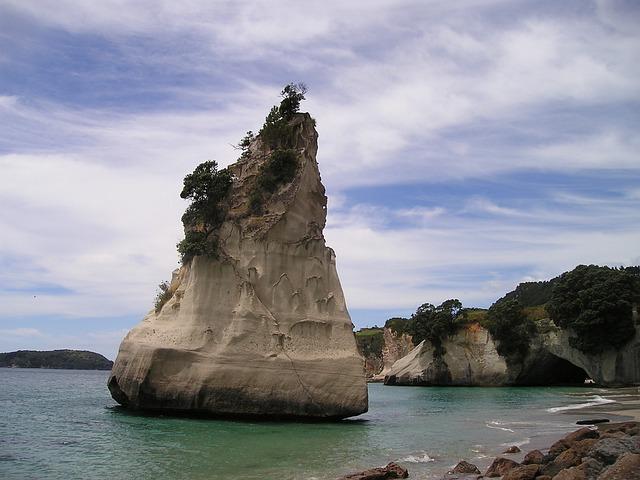White Blue Wallpaper Hd Free Photo New Zealand Beach Rock Coast Free Image