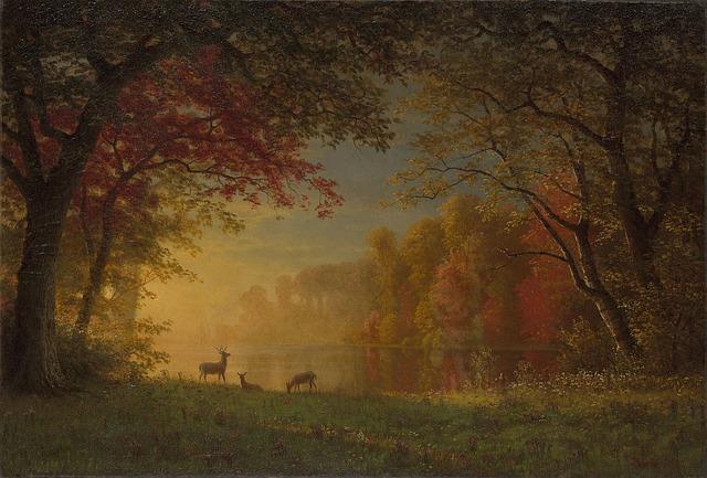 Fall Deer Wallpaper Albert Bierstadt Painting Art 183 Free Image On Pixabay
