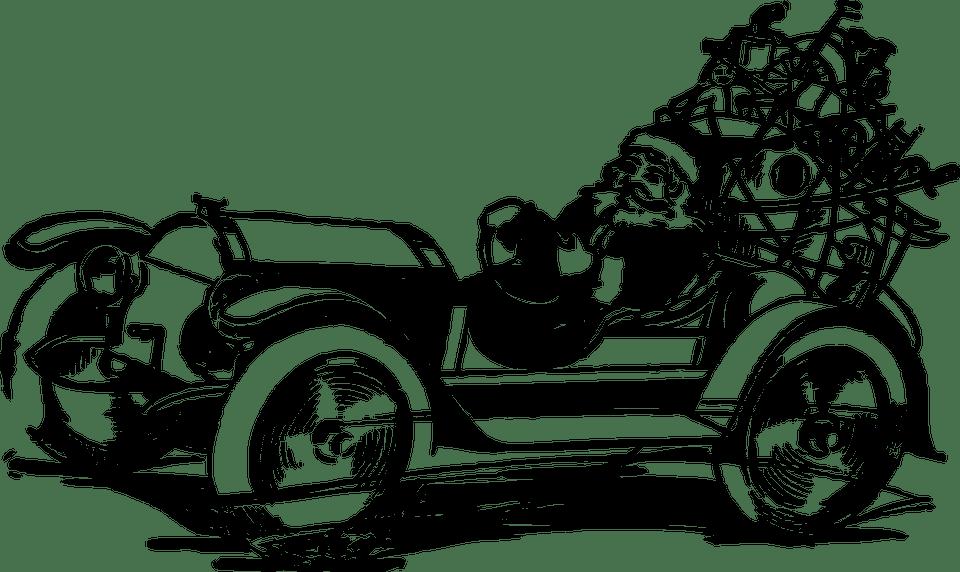 Black Vintage Wallpaper Santa Fahren Auto 183 Kostenlose Vektorgrafik Auf Pixabay