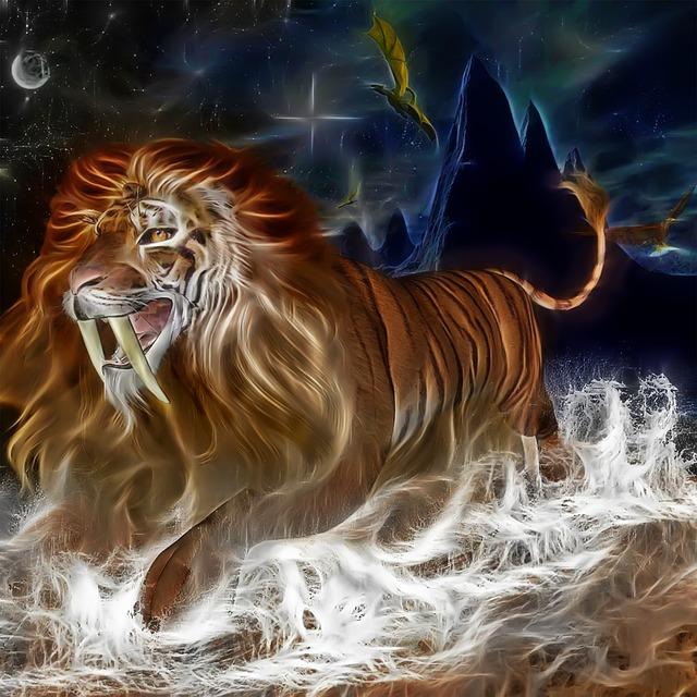 3d Red Blue Wallpaper Free Illustration Lion Tiger Cat Sky River Rocks