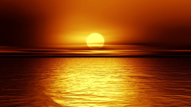 Night View Hd Wallpaper Free Illustration Sunset Dusk Dawn Ocean Horizon