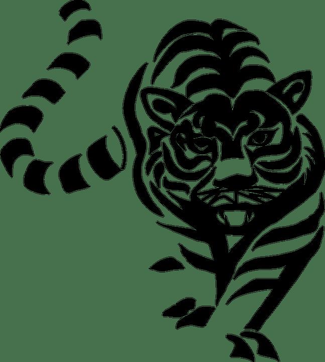 Free vector graphic tiger cat big black white free