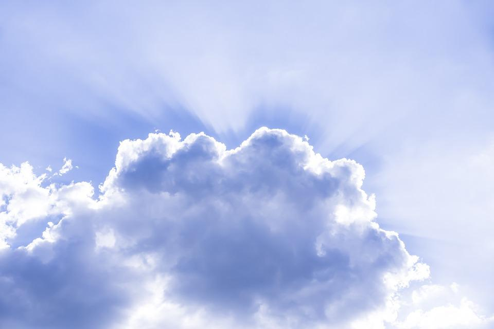 Blue Background Hd Wallpaper Free Photo Cloud Sky Sunbeam Rays Heavenly Free