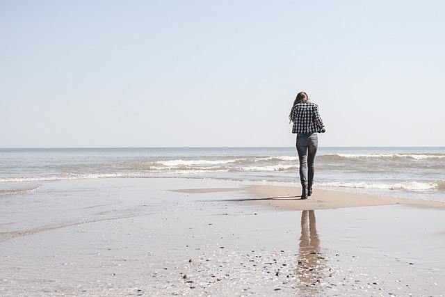 Alone Girl Wallpaper In Rain Beach Woman Walk 183 Free Photo On Pixabay