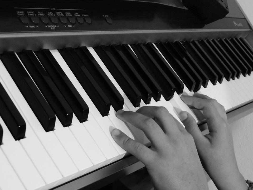 Black And White Flower Wallpaper Photo Gratuite Piano Mains Touches Clavier Image