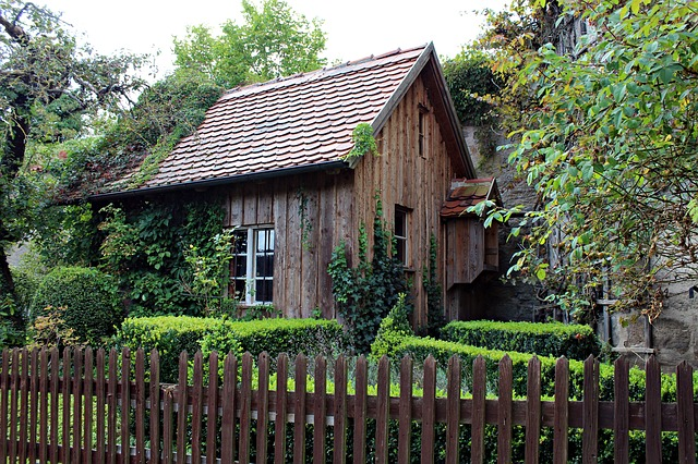 White House With Black Shutters Free Photo: Old Wooden Hut, Garden Shed - Free Image On