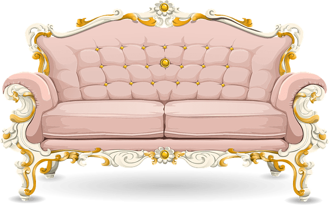 Kursi Retro Sofa Free Vector Graphic: Couch, Sofa, Loveseat, Pink, Ornate