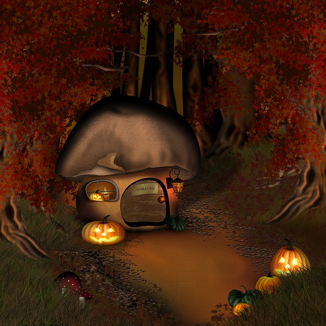 Fall Cabin The Woods Wallpaper Free Photo Halloween Forest Mushroom House Free Image