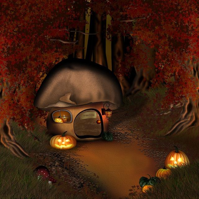 Fall Landscape Wallpaper Free Photo Halloween Forest Mushroom House Free Image