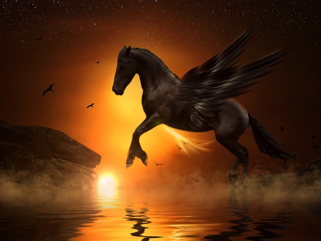 Mythical Creatures In The Fall Wallpaper Free Photo Pegasus Moon Jump Rock Gold Free Image