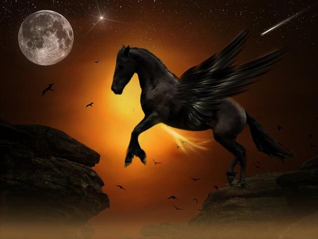 Wallpaper Black Orange Free Photo Pegasus Moon Jump Rock Gold Free Image