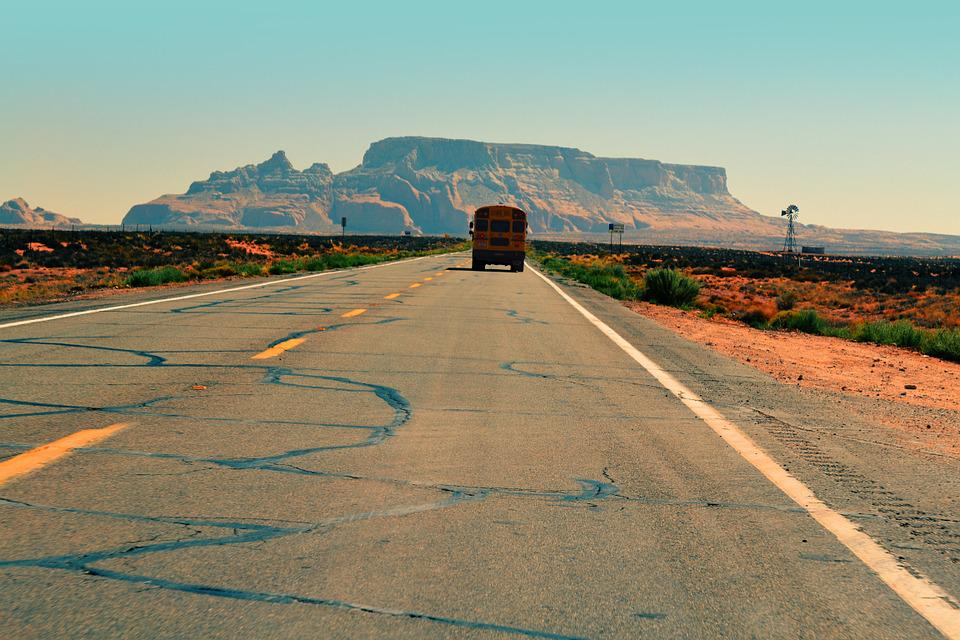 Car Background Wallpaper Hd Download Free Photo School Bus Road Pavement Desert Free