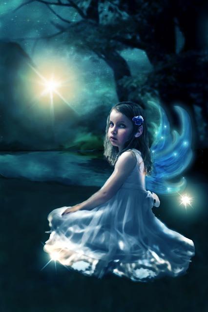 Wallpaper Hd Portrait Orientation Free Illustration Fairy Blue Surreal Girl Night