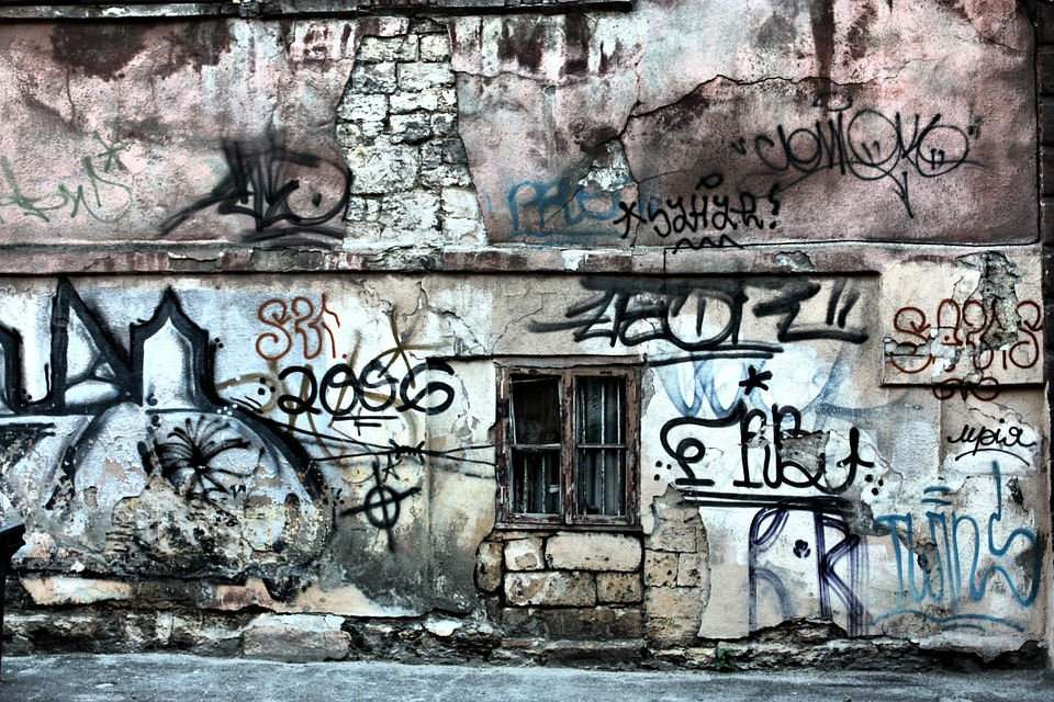 Black And Blue Wallpaper Free Photo Window Wall City Graffiti Free Image On
