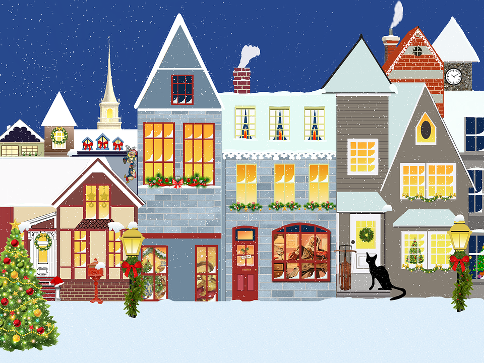 3d Snowy Cottage Animated Wallpaper Windows 7 Christmas Village Houses 183 Free Image On Pixabay