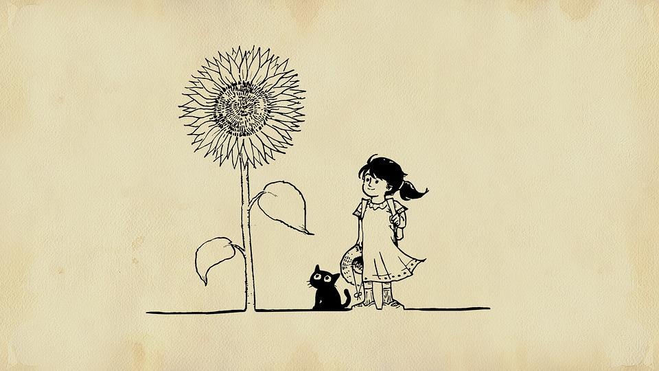 Wallpaper Hd Anime Girl Free Illustration Girl Cat Flower Fairy Tale Free