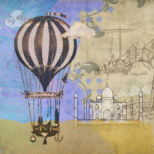 Vintage Black Wallpaper Free Illustration Hot Air Balloon Steampunk Balloon