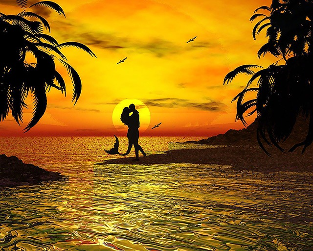 Wallpaper Muslimah Cute Free Illustration Kiss Ocean Sunset Beach Free Image