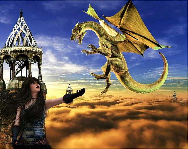 Dragon Hd 3d Wallpaper Free Illustration Fantasy Dragon Woman Creature Free
