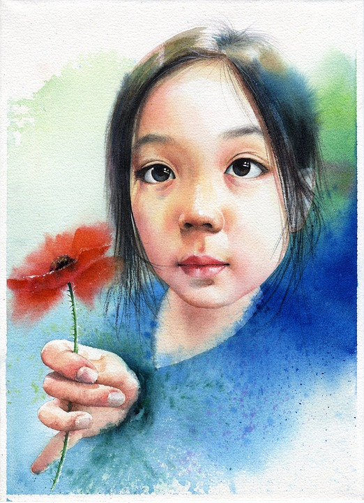 Girl And Boy Wallpaper Free Download Watercolor Portrait Children S 183 Free Image On Pixabay
