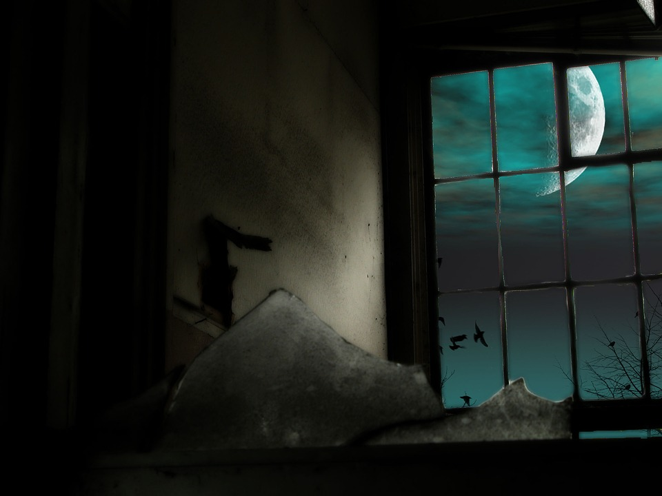 Lonely Girl Wallpaper Com Free Illustration Moon Window Broken Background Free