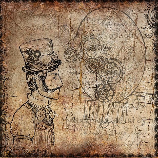 Tiger Cute Drawing Wallpaper Free Illustration Background Man Steampunk Gears